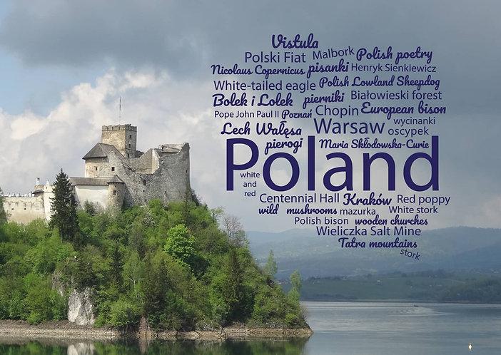 Poland WordCloud postcard