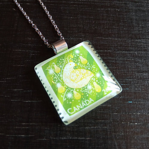 Necklace with stamp pendant - Partridge - Stamp'n Glass Handmade Jewelr