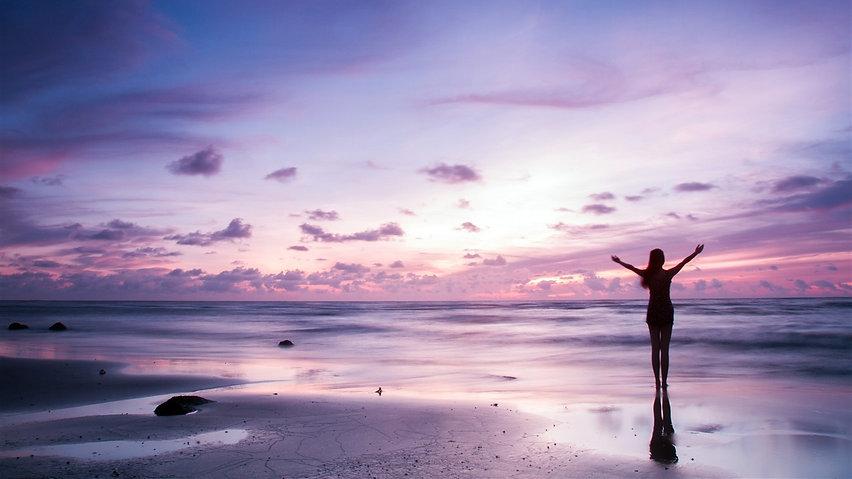 Purple-sky-beach-sunset-landscape-young-