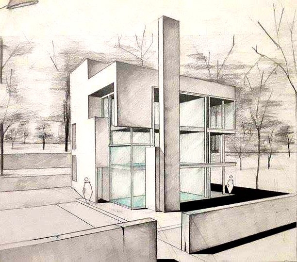 Perspectiva casa arh. Richard Meier