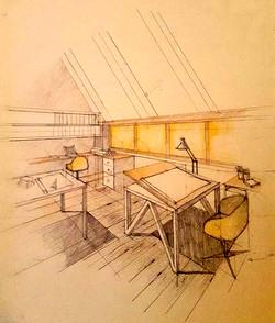 Birou arhitect la mansarda