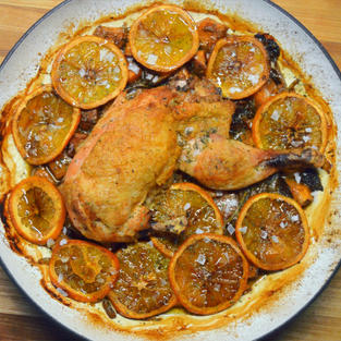 Half Chicken with sweet potatoes and orange