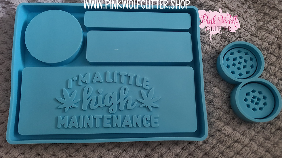 High Maintenance Rolling Tray and Grinder Set Mold