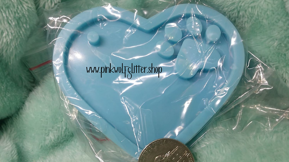 Heart with Paw Print Mold