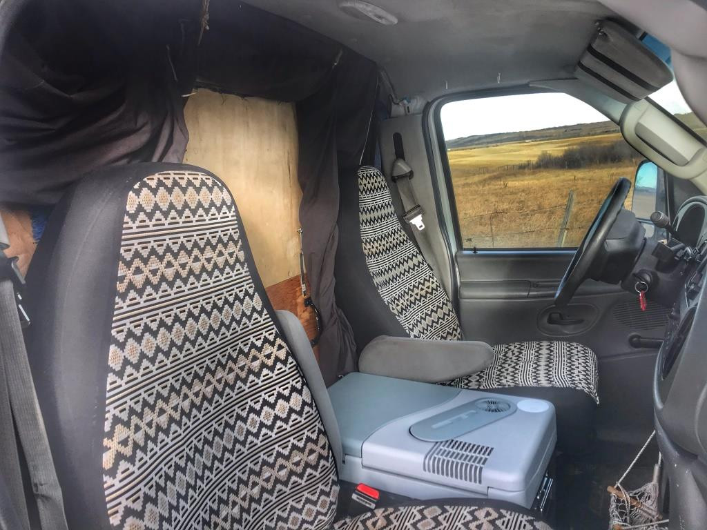 Camper van front seat view