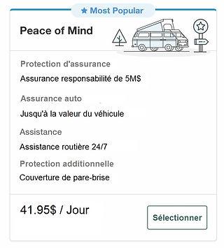 Forfait d'assurance Peace of Mind avec une location de van New Age Travel and Services