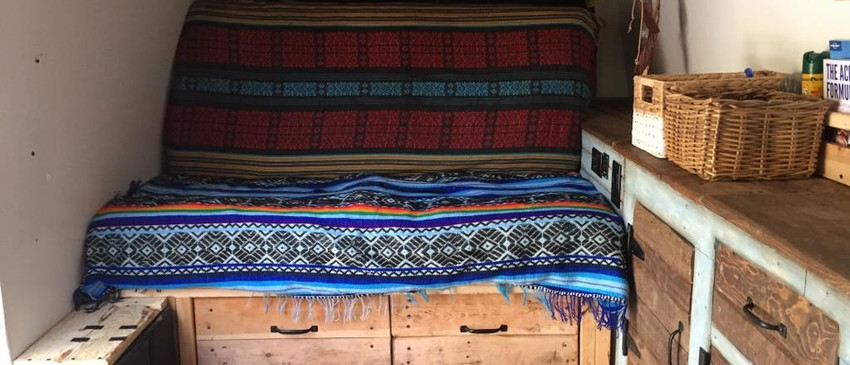 Confortable couch inside the camper