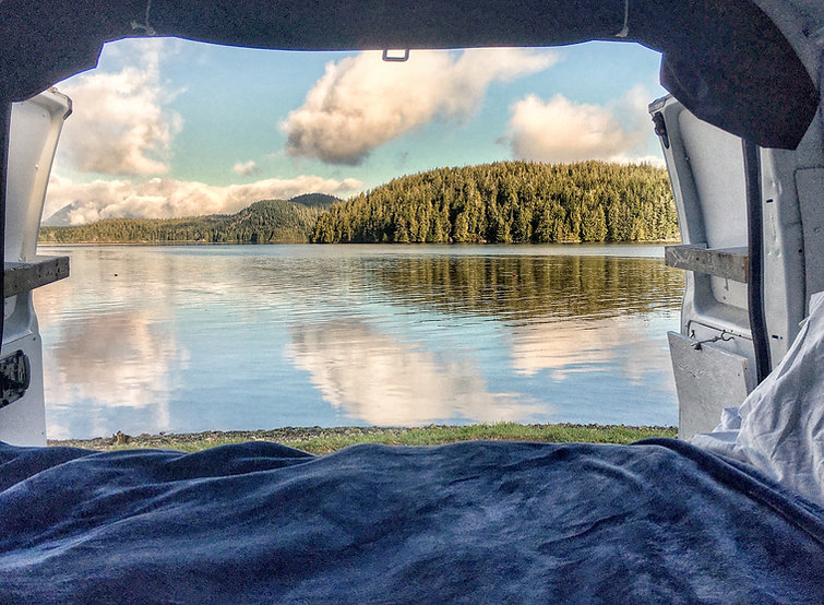 camper van view of a lake
