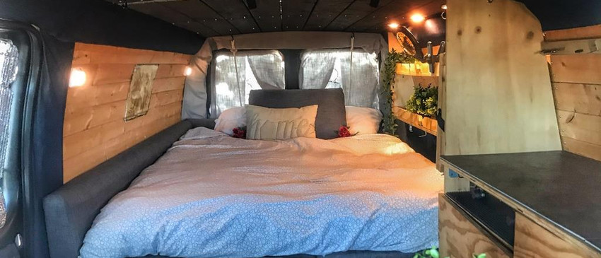 Long bed of the campervan