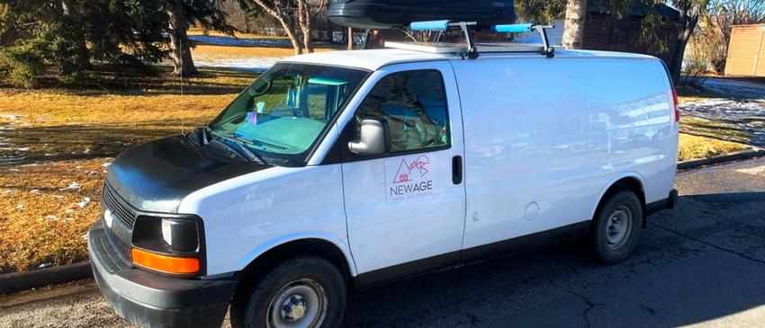 Van with a roof rack