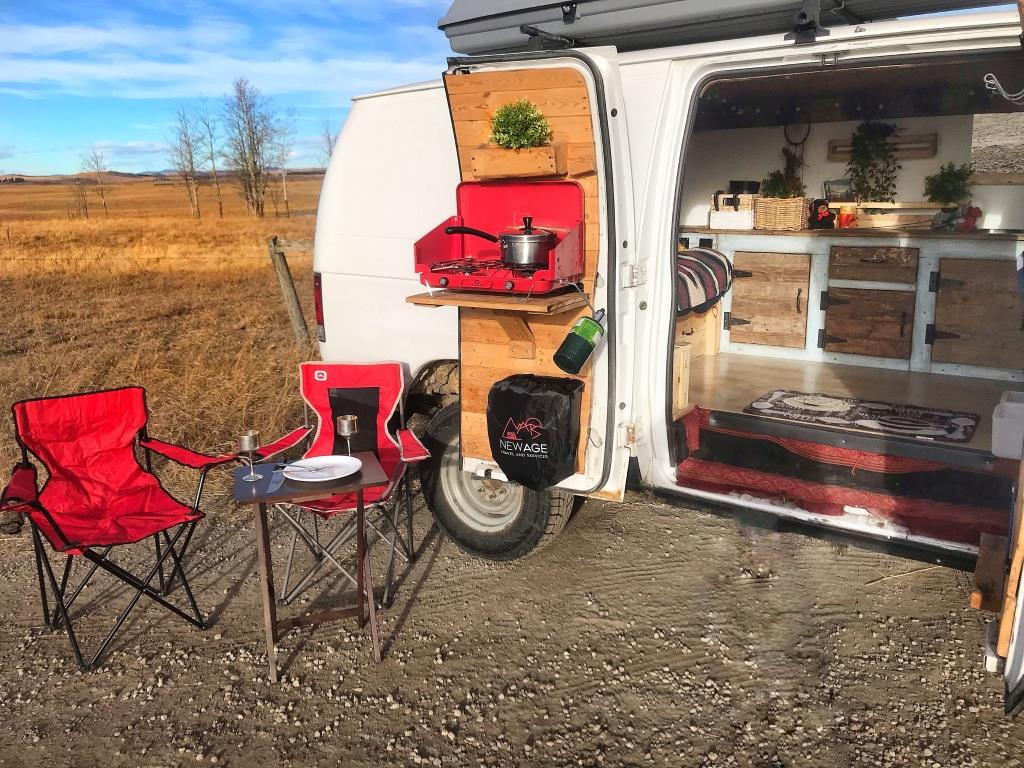 Vanlife cooking by a gravel road