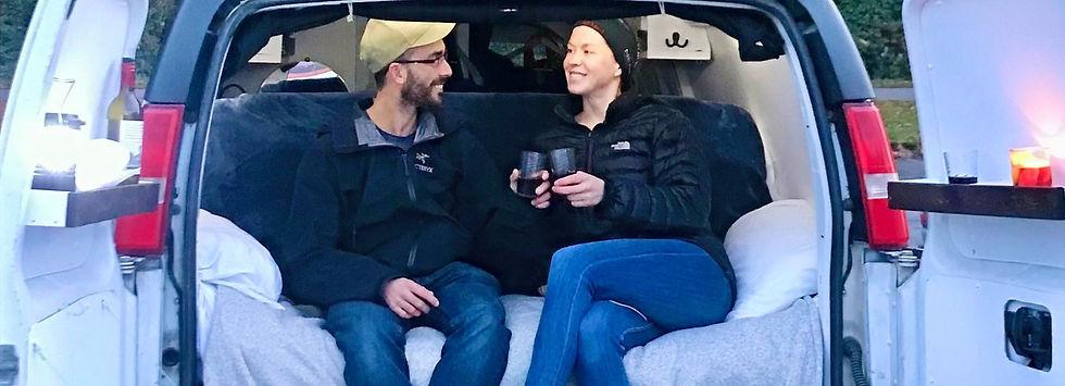 honeymoon dinner in a campervan