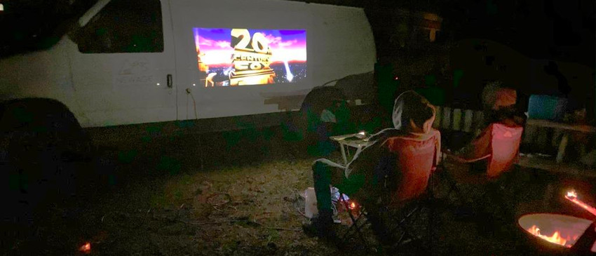 Movie night in the campground