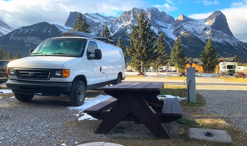 Camping in Canmore in the Fall in the Canadian Rockies