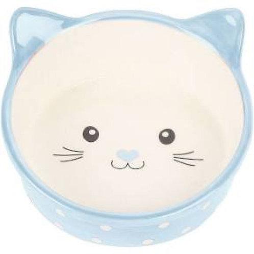 Pet Platter Blue Polka Dot Kitty Bowl