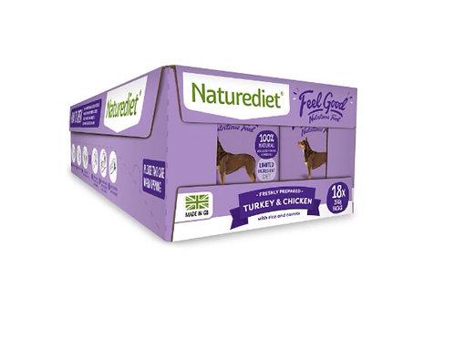 Naturediet Feel Good Turkey & Chicken Dog Food - 18 x 390g