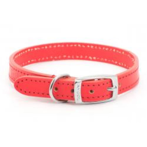 Ancol Collar Red Leather 20-26cm