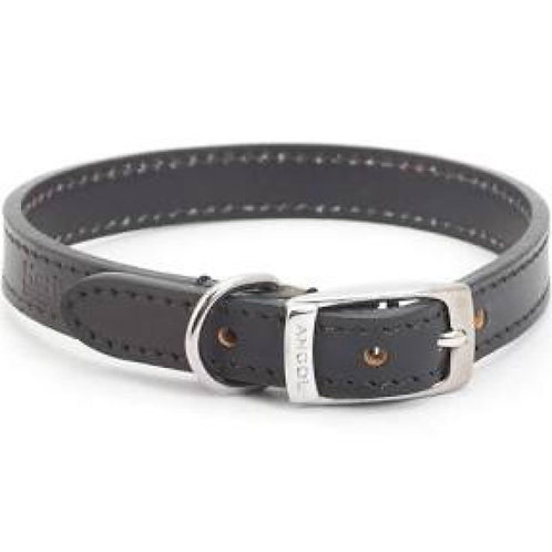 Ancol Heritage Black Leather Collar 26-31cm