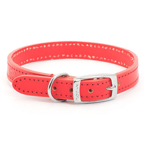 Ancol Leather Collar Red 45-54c