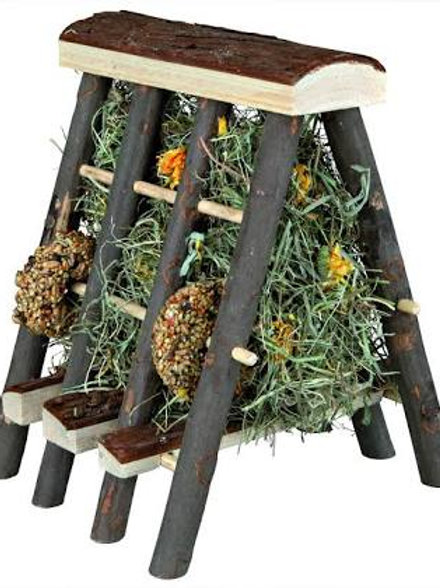 Bark Wood Hay Manger With Hay & Flower Treats