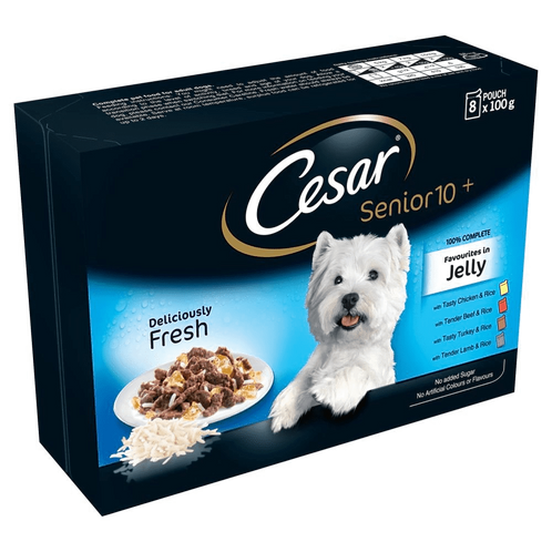 Cesar Pouch Senior 10+ Favourites in Jelly 8 Pack, 100g