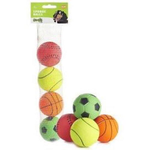4 x Solid Sponge Neon Sports Balls