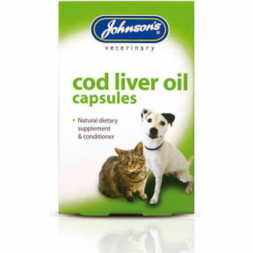 Johnson's Cod Liver Oil Capsules for Cats, Dogs and Birds