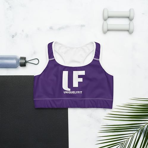 Uniquely FIT purple/white Sports Bra