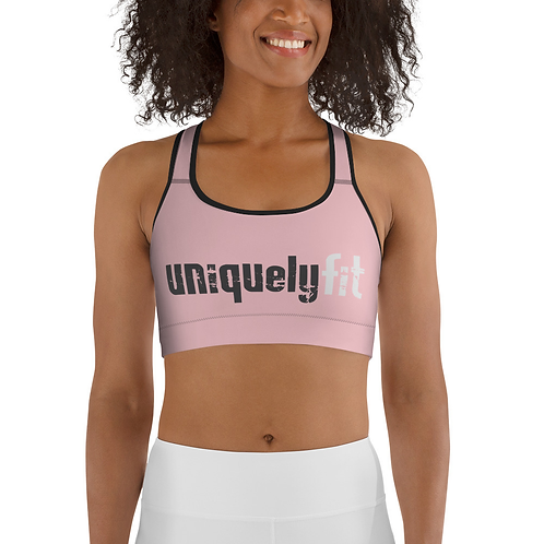 Uniquely FIT pink/black Sports Bra