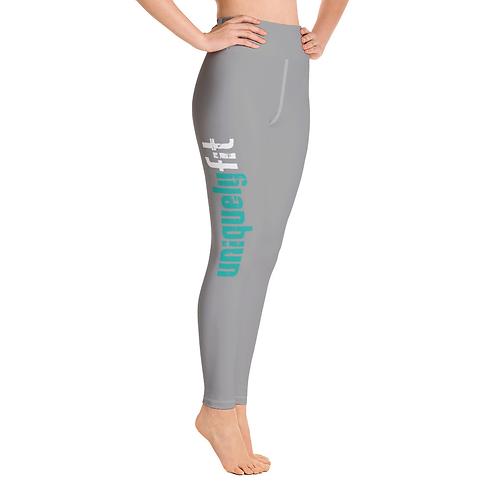 Uniquely FIT grey/green Yoga Leggings