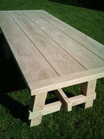 Welsh Green Oak Solid Table for indoor or outdoor