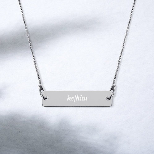 He/Him Pronoun Engraved Bar Chain Necklace