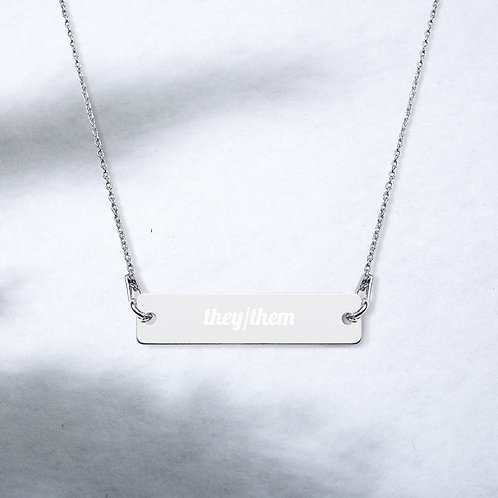 They/Them Pronoun Engraved Bar Chain Necklace