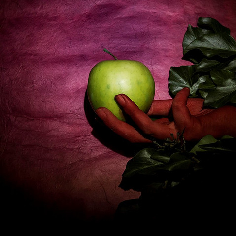 Red Hand, Green Apple on a Purple Ground