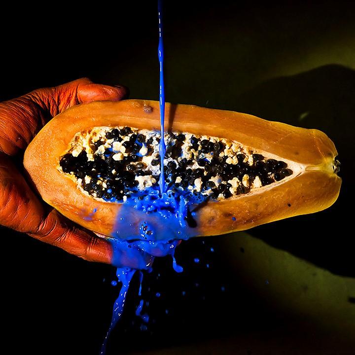 Orange Hand, Half Papaya, Blue Paint
