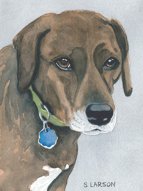 Dog Portrait Watercolor Print