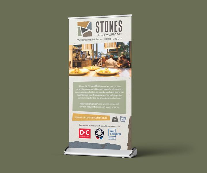 Roll-up banner ontwerp voor Restaurant Stones