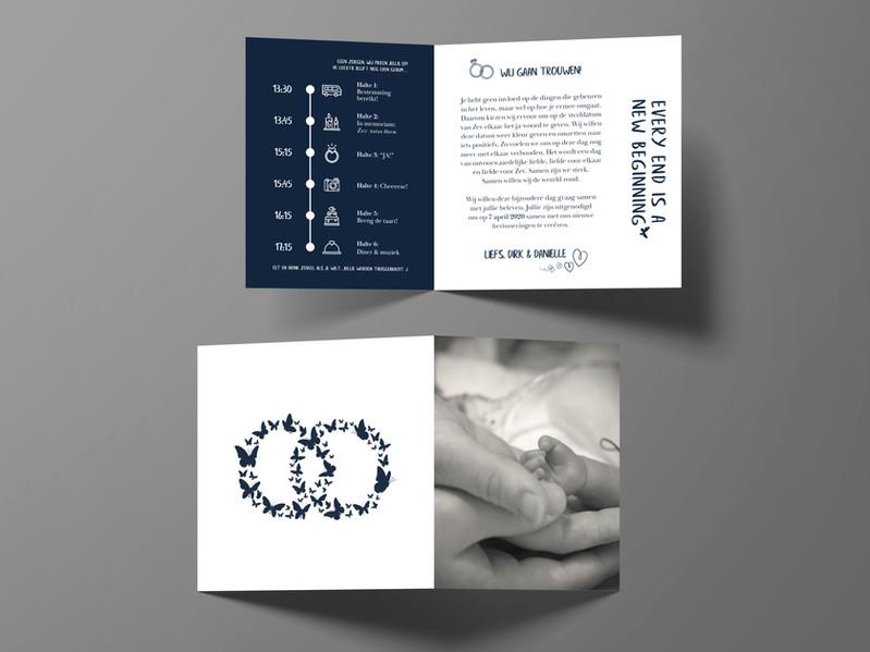 Trouwkaart design voor Dirk & Daniëlle