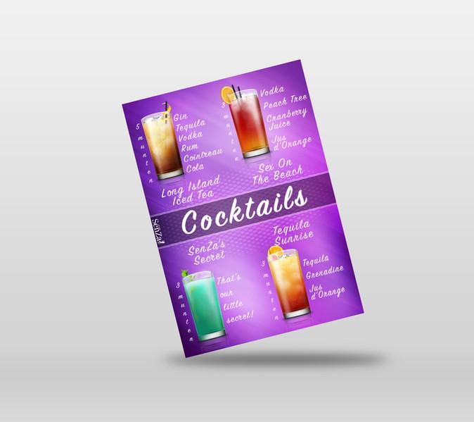 Cocktail menu voor Club SenZa