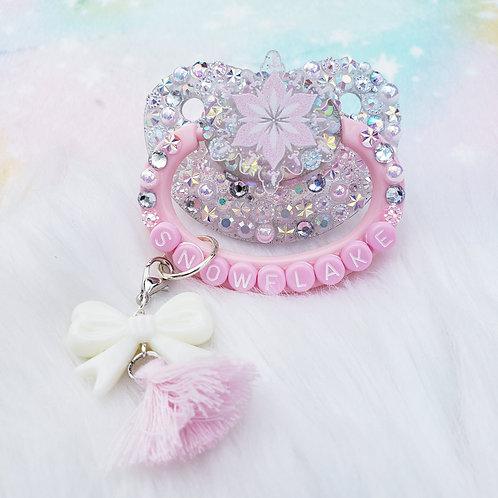 Snowflake- silver/pink