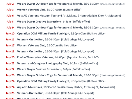 Schedule of Free July Events for Veterans and Service Members