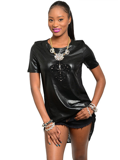 S-TWELVE LEATHER Edgy short sleeve Black Top