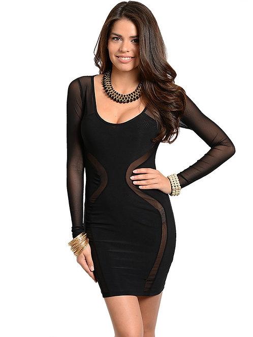 Edgy Bodycon Black Dress long sleeves