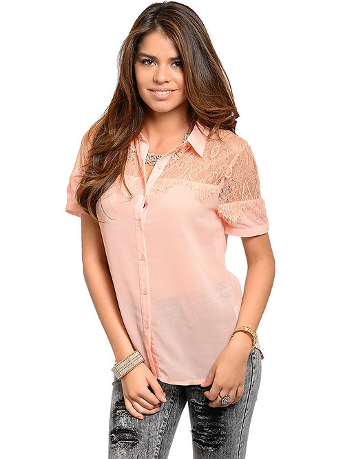 ROLYPOLY PEACH TOP WITH LACE