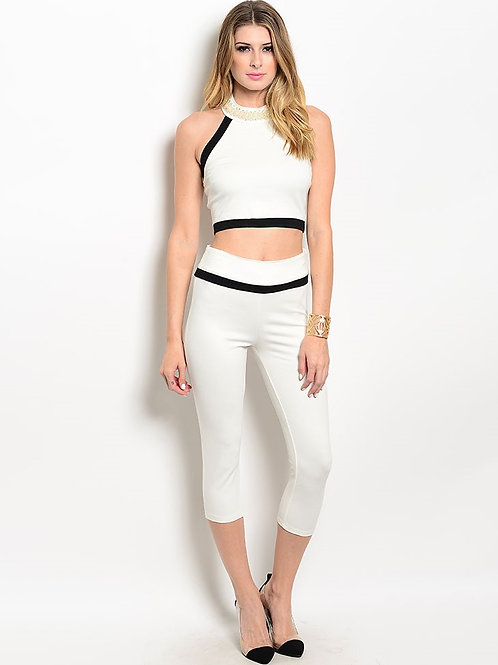 IVORY WITH PEARLS TOP & CAPRI PANTS SET
