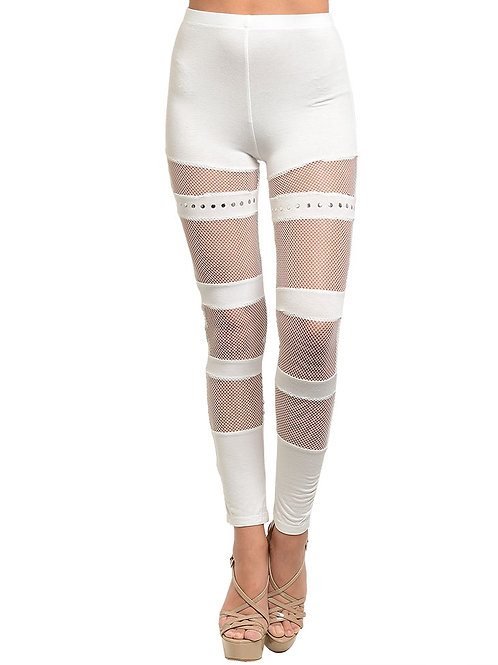 IVORY WITH STUDS & MESH LEGGINGS