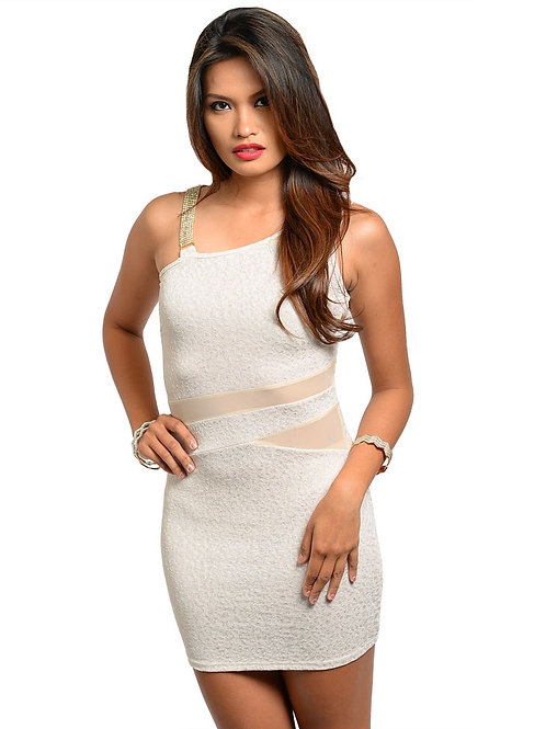 KIMOINE DIAMOND STRAP CREAM DRESS
