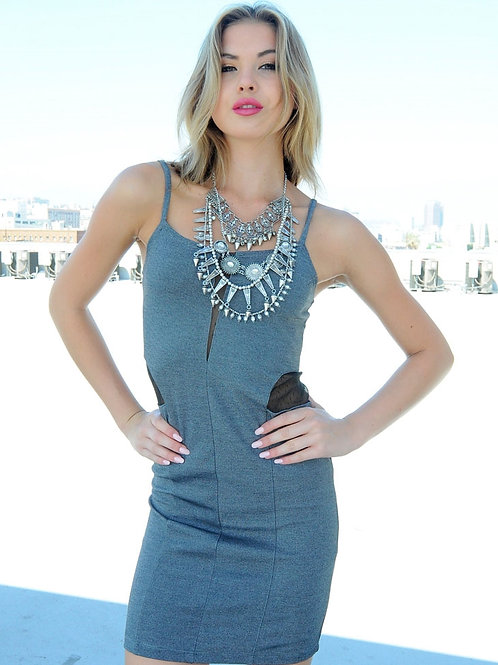 SPAGHETTI STRAP GRAY DRESS WITH MESH