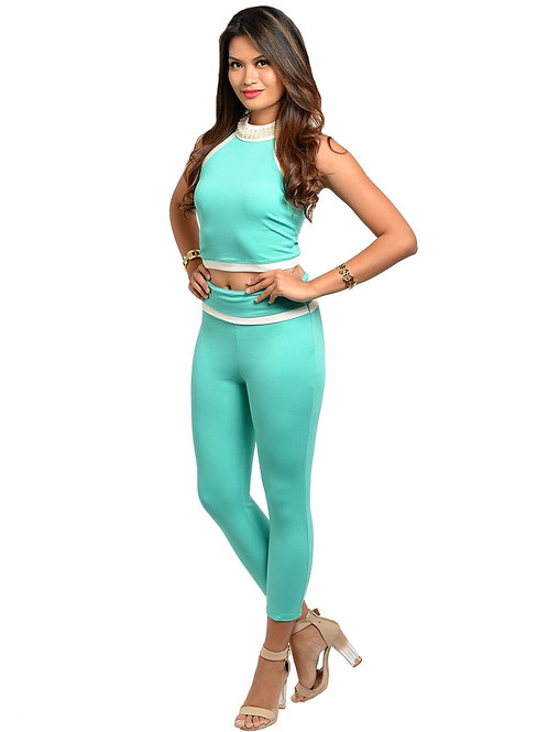 MINT WITH PEARLS TOP & CAPRI PANTS SET