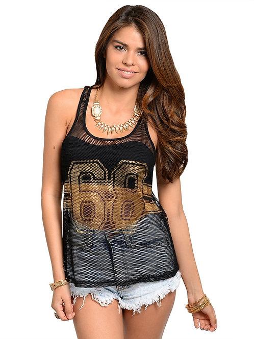 68 BLACK GOLD MESH TOP